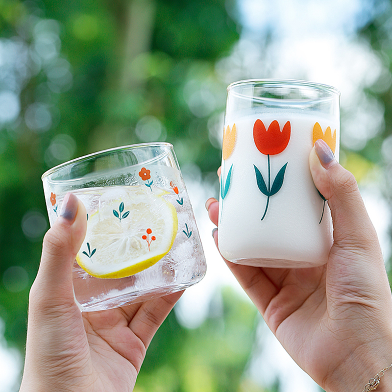 South Korea Ins Hand-painted Tulip Flower Glass Cup Household Heat-resistant Drinking Cup Big Belly Mousse Cup Christmas Gifts