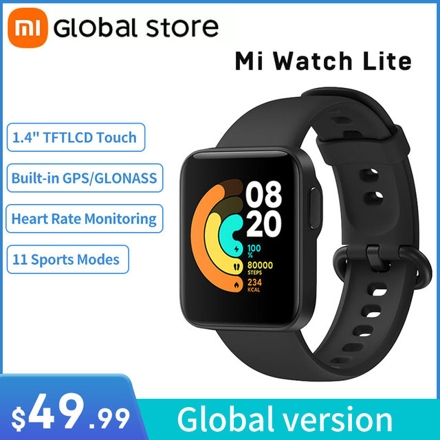 "Xiaomi Mi Watch Lite GPS Bluetooth 5.1 Smart Watch Fitness Heart Rate Monitor 1.4"" TFTLCD Screen 5 ATM Waterproof mi band 1"