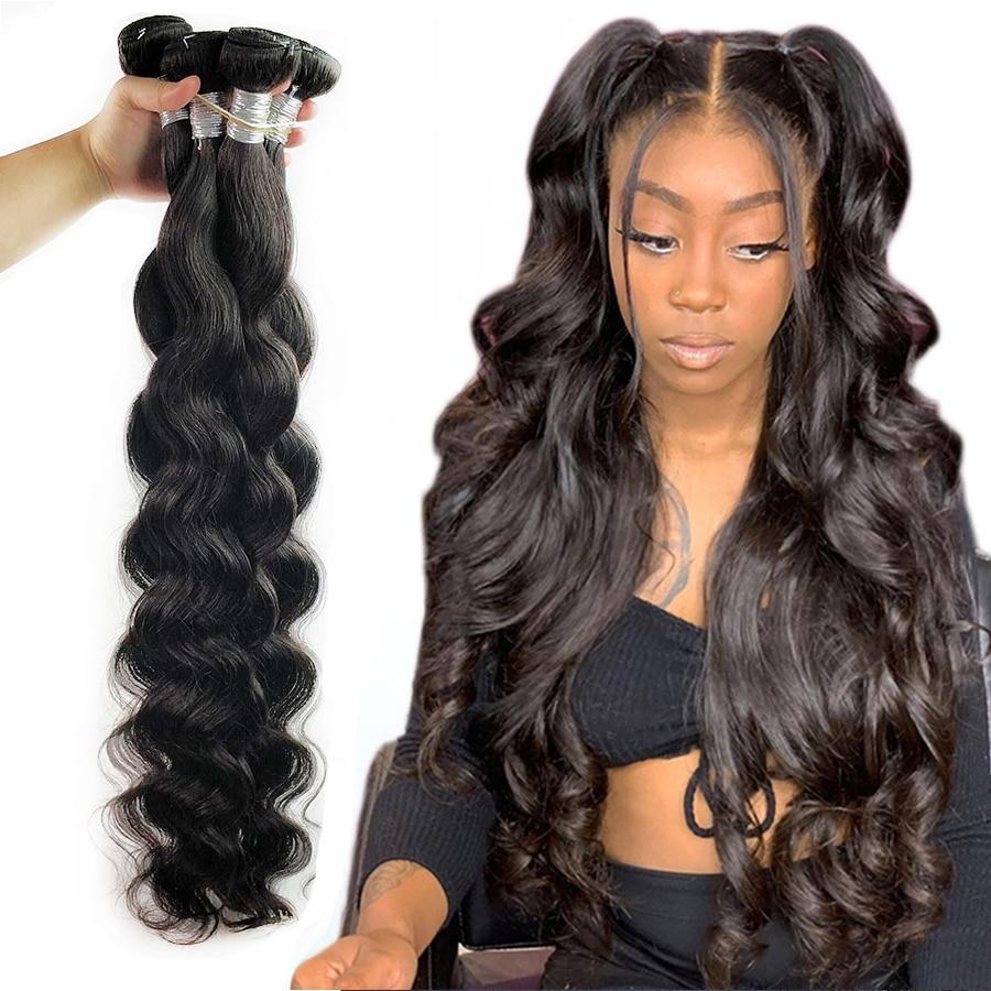 Fashow Body Wave 30 32 34 36 40 перуанпряди волос густые человеческие волосы 1/3/4 пряди натурального цвета длинные волосы Remy для наращивания