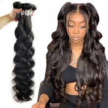 Fashow 8-34 36 38 40 polegada peruano cabelo tecer pacotes onda do corpo 100% cabelo humano 1/3/4 pacotes de cor natural remy extensões de cabelo  à venda
