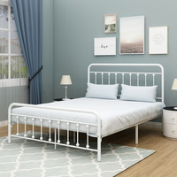 JURMERRY Metal Bed Frame Headboard Footboard Victorian Style Mattress Foundation Heavy Full Queen Bedroom Furniture Adult Beds