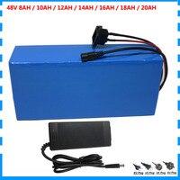 48v bateria elétrica da bicicleta 48v 8ah 10ah 12ah 14ah 16ah 18ah 20ah bateria de íon de lítio com bms 54.6v 2a carregador taxa aduaneira livre