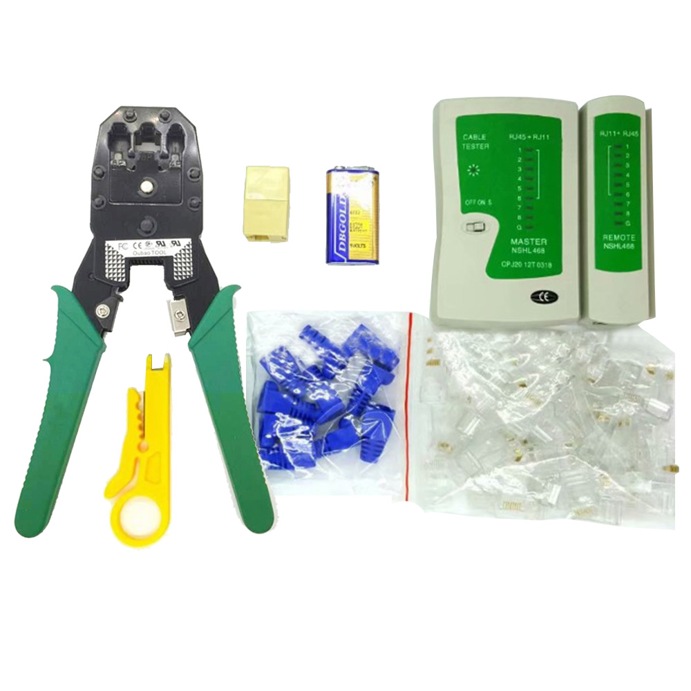 Ethernet Network Cable Tester Crimping Crimper Stripper Cutter Tool Kit Carton Web tools 2019 network tools