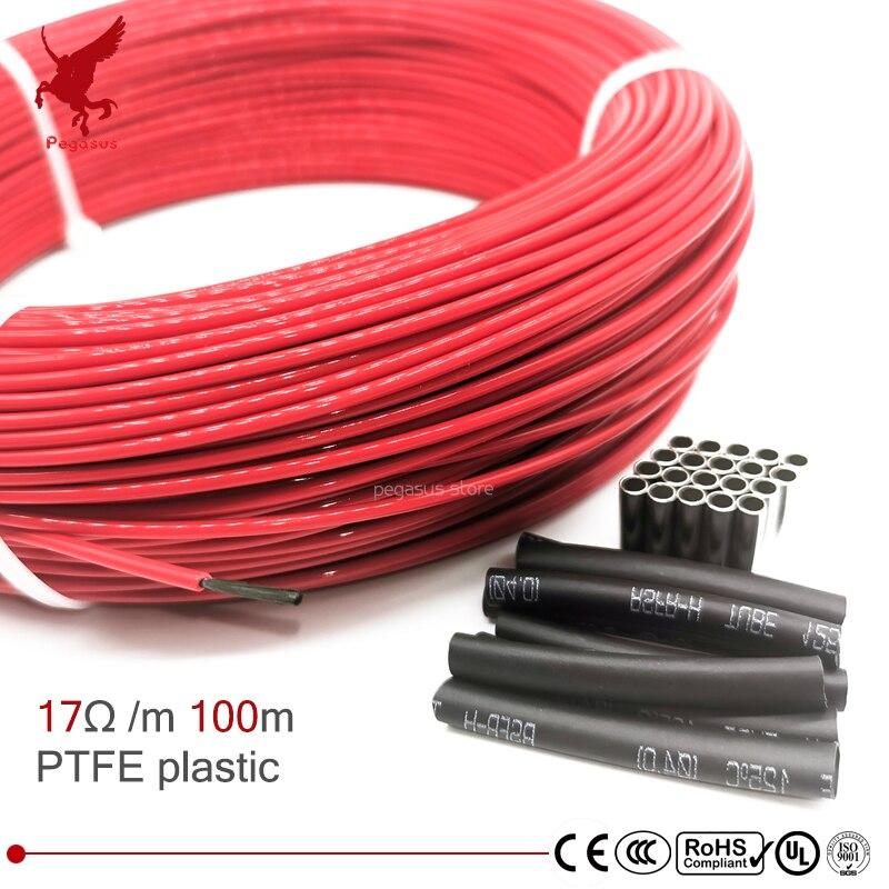 100 м 17ohm многоцелевой 24k PTFE углеродное волокно нагревательный кабель 5 V-220 V теплый пол высокое качество инфракрасный нагревательный провод т...