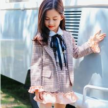 Children Clothes Set for Girls 2pcs Kids Suits Blazers Jackets +plaid Skirts Girl 2019 Ruffles In