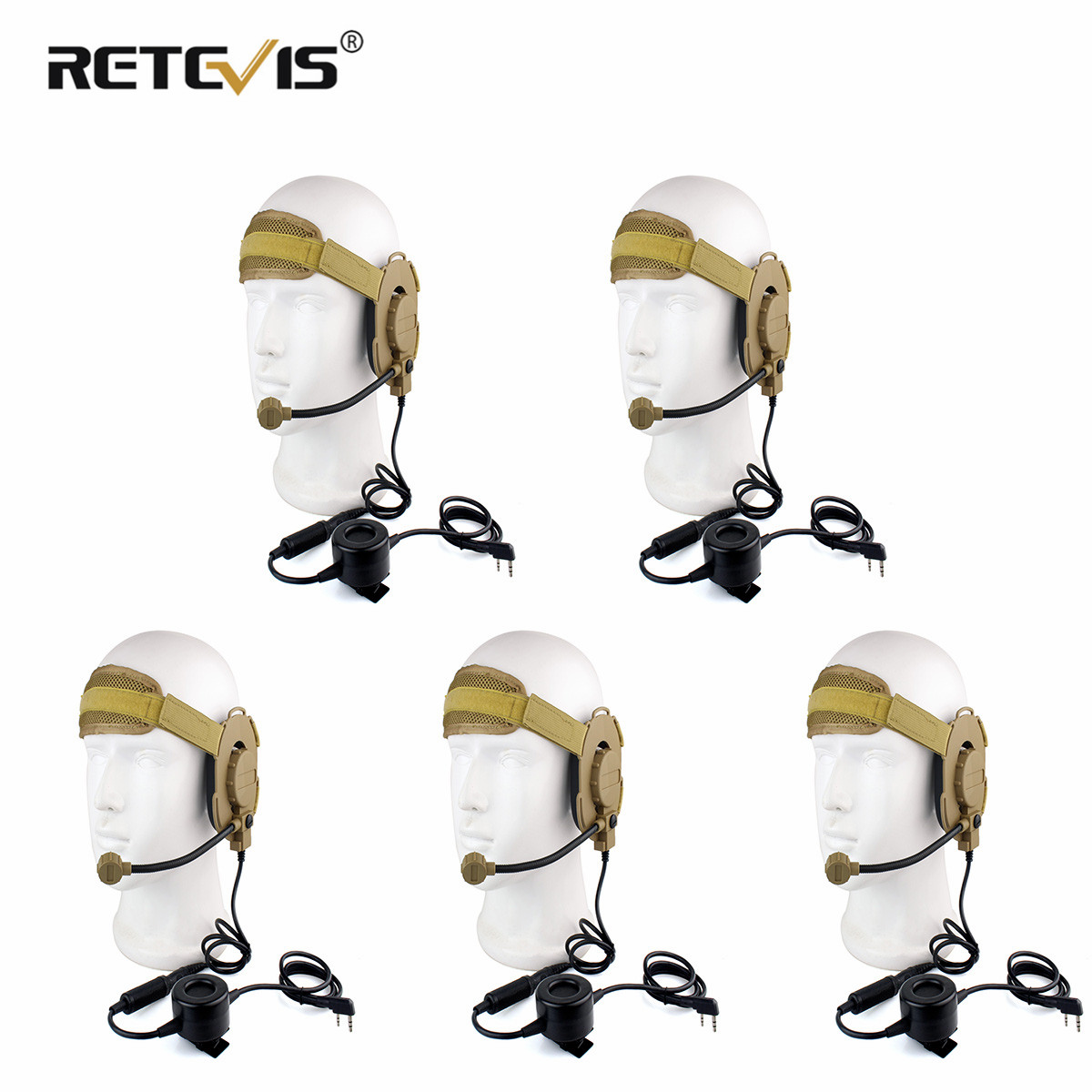 5pcs  HD03 Z Tactical Bowman Elite II Headset With Waterproof PTT Right/Left Ear For Kenwood 2 Pin Two-way Radios Yellow C2052Y