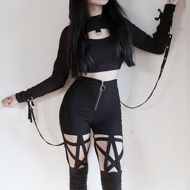 Goth pants with pentagram and hollow out design