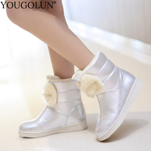 Faux Leather Snow Boots Women Winter A365 Flat Long Plush Ladies Shoes Woman Black Silver Gold Crystal Faux Fur Ankle Boots все цены