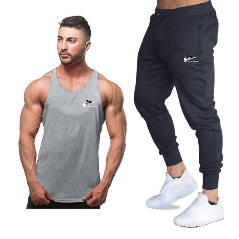 New Fashion Cotton Sleeveless Shirts Tank Top+Pants Men Fitness Shirt Mens Singlet Bodybuilding Workout Gyms Vest Fitness Sets