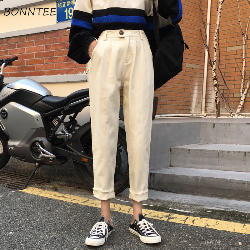 Jeans Women Loose Simple Student BF Streetwear Denim Womens Trouser Ankle-length All-match Causal Korean Style Females Ulzzang