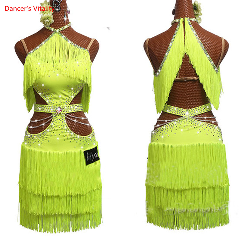 New Latin Dance Dress Women Fluorescent Yellow Dress Rhinestone Chain Performance Outfit Girls Tassel Skirt Salsa Dress