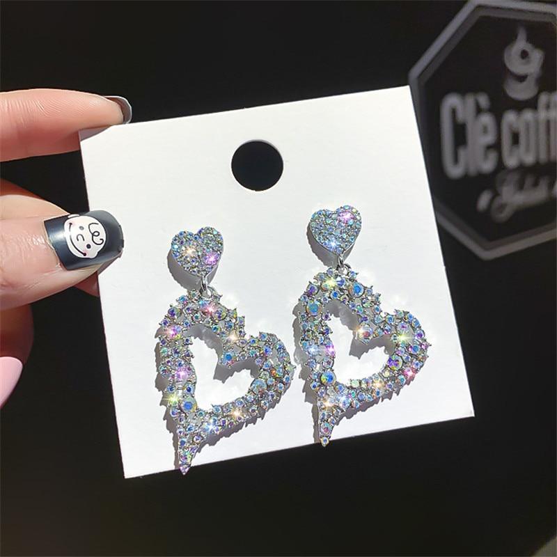 FYUAN Heart Colorful Rhinestone Drop Earrings For Women Bijoux Gold Silver Color Shiny Crystal Dangle Earrings Jewelry Gifts