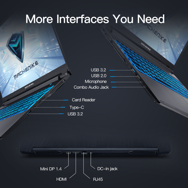 Machenike T90 Newest Gaming laptop i7 10750H GTX1650 Computer Laptops 16GB RAM 512G SSD 1T HDD 15.6'' 6mm Border IPS Notebook 5