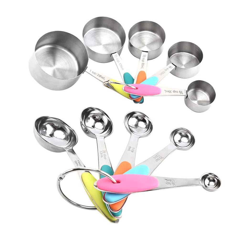 10Pcs Stainless Steel Coffee Powder Scoop Measuring Cup Spoon Baking Measuring Tools Set Scales Kitchen Tools Hot Sale
