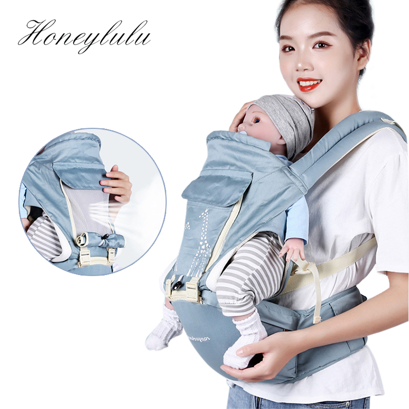 Baby Wrap Cotton Hipseat Adjustable Baby Sling Carrier Backpack Sling with Rings