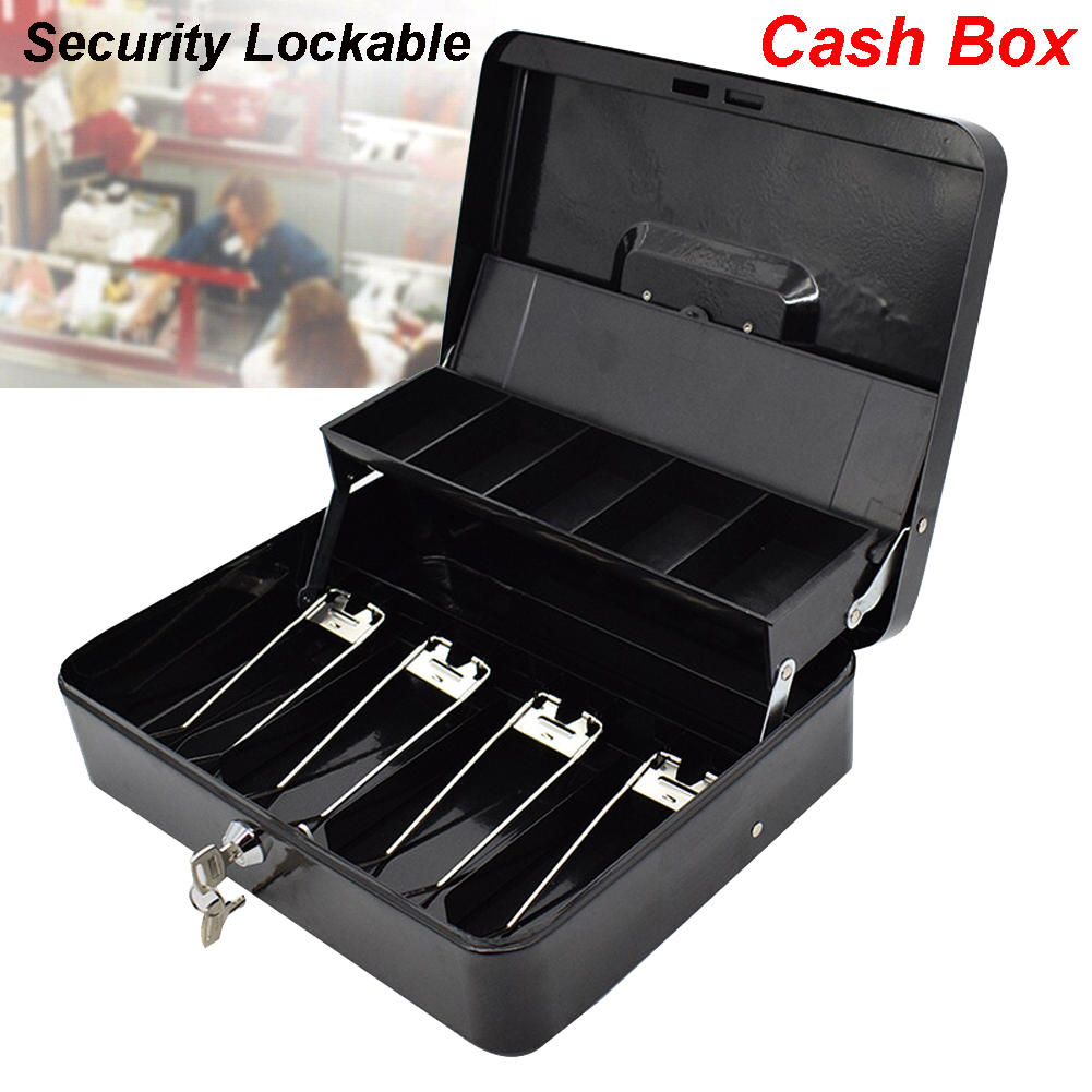 Portable Security Lockable Cash Box Tiered Tray Money Drawer Safe Storage Black 40FP14