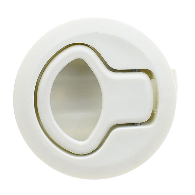 Round White Flush Pull Slam <font><b>Latch</b></font> for RV <font><b>Boat</b></font> Marine Deck Hatch Door Replacement image