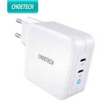Зарядное устройство CHOETECH PD 100 Вт GaN с двумя USB-портами типа C для MacBook Air iPad iPhone 12 Pro Samsung Huawei ASUS, настенное зарядное устройство для Lenovo DELL
