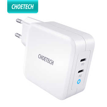 CHOETECH PD 100W GaN Dual USB tipo C cargador para iPad iPhone 11 Pro Samsung Huawei ASUS cargador de pared para Lenovo DELL