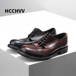 Retro High Quality Genuine Leather Men Shoes Lace-Up Business Dress Men Oxfords Shoes Male Formal Shoes