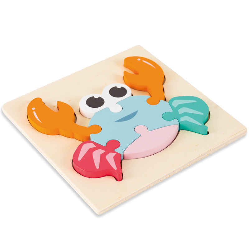 High quality baby 3D wooden puzzle educational toys early learning cognition kids cartoon grasp intelligence puzzle 5