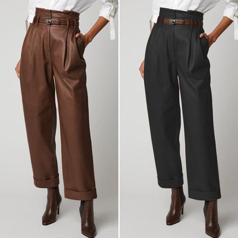 Women's Wide Leg Trousers ZANZEA 2020 Stylish Faux Leather Pants Casual Button Zip Long Pantalon Female Black Oversized Turnip