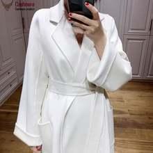 Женское кашемировое пальто длинное женское белое с ворсом осенне