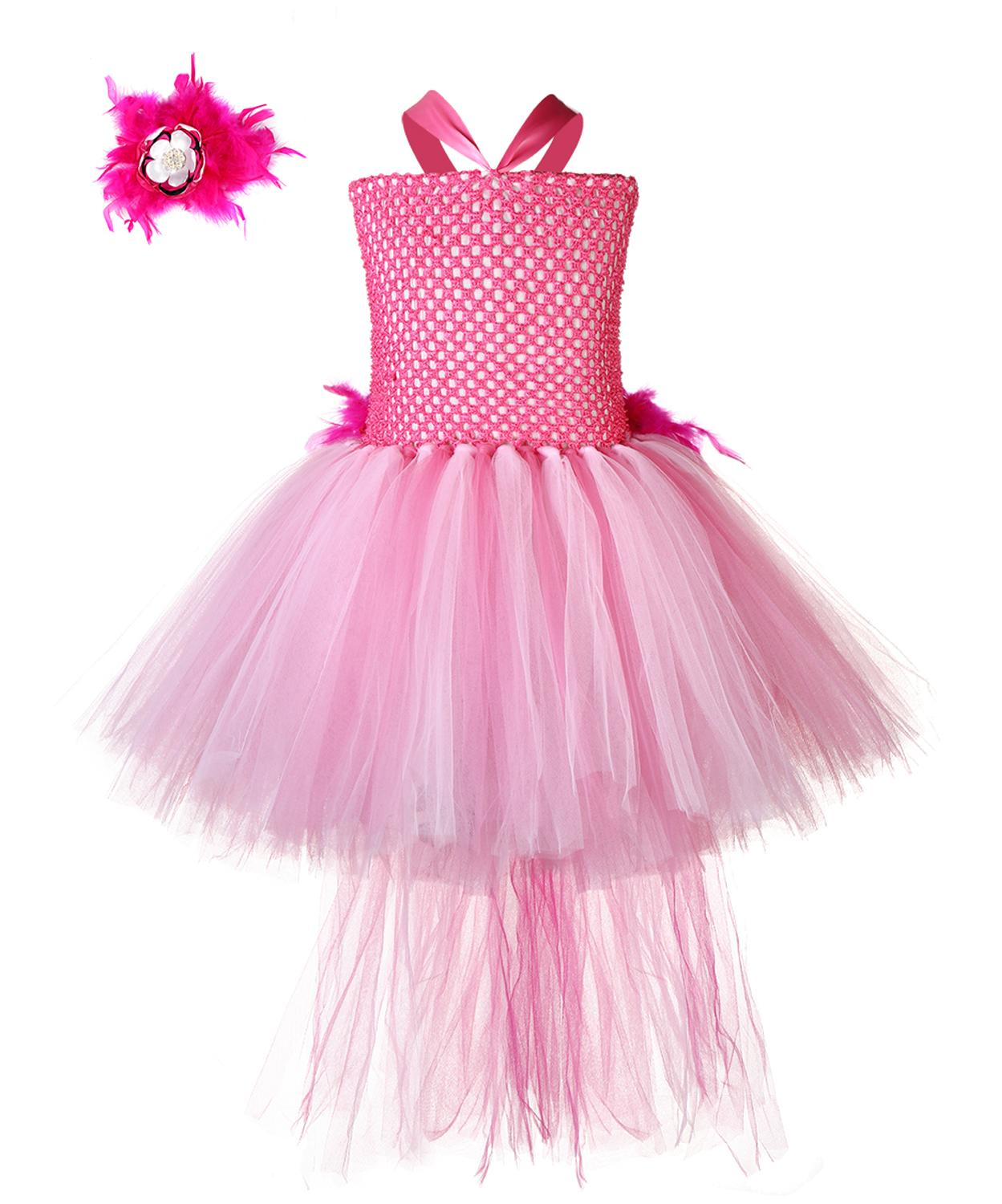 Halloween Flamingo Cosplay Costume Girls Kids Pageant Hot Pink Feather Birds Animal Theme Birthday Party Tutu Dress with Train 1