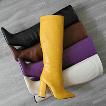 Faux Leather Pointed Toe Knee Boots Women Fashion Chunky Heel Lazy Shoes Woman High heel Long Boots Purple Beige Knee-High Boots cheap TUNATAKA TOTEM Solid Adult Square heel Basic Short Plush Microfiber Winter Rubber Super High (8cm-up) Slip-On Fits true to size take your normal size