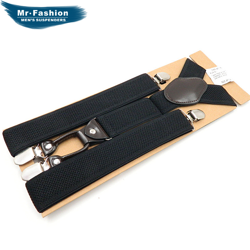 Brand Suspender Strap Men 4 Clip Genuine Leather Suspender Strap Monochrome Y Adult Suspender Strap Reticulation Si Jia