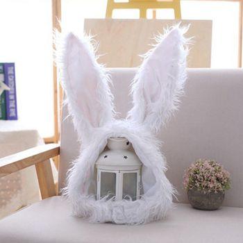 Gorra de invierno con Orejas de conejo largas divertidas para mujeres y niñas, traje de Cosplay de felpa mullido y cálido, gorro con capucha de Animal, atrezo para fotografía de fiesta