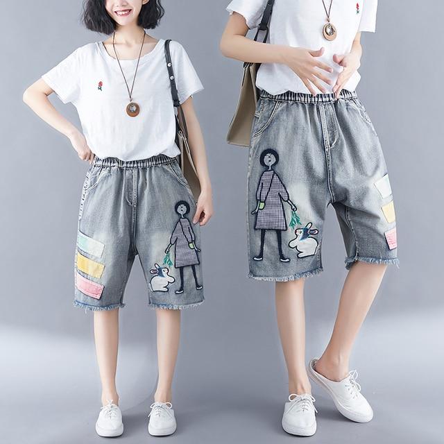 5176 Women Summer Streetwear Elastic High Waist Cartoon Embroidery Cute Korean Style Lady Female Oversized Loose Denim Shorts 2