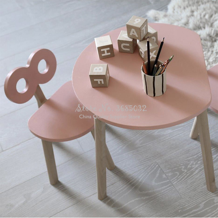 Pink Solid Wood Children's Table & Chair Set Home Baby Table Writing Table Ins Kindergarten Early Education Toy Table Game Table