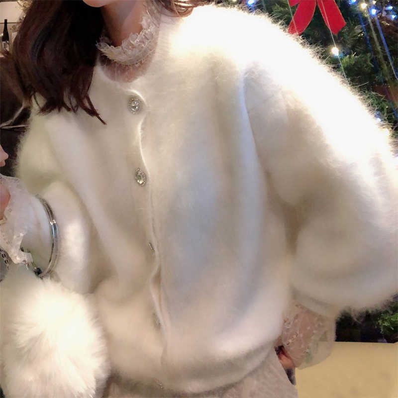 Fashion Fluffy angora rabbit fur cardigan ladies Women warm Mink cashmere woven O-neck Sweater real mink cashmere coat