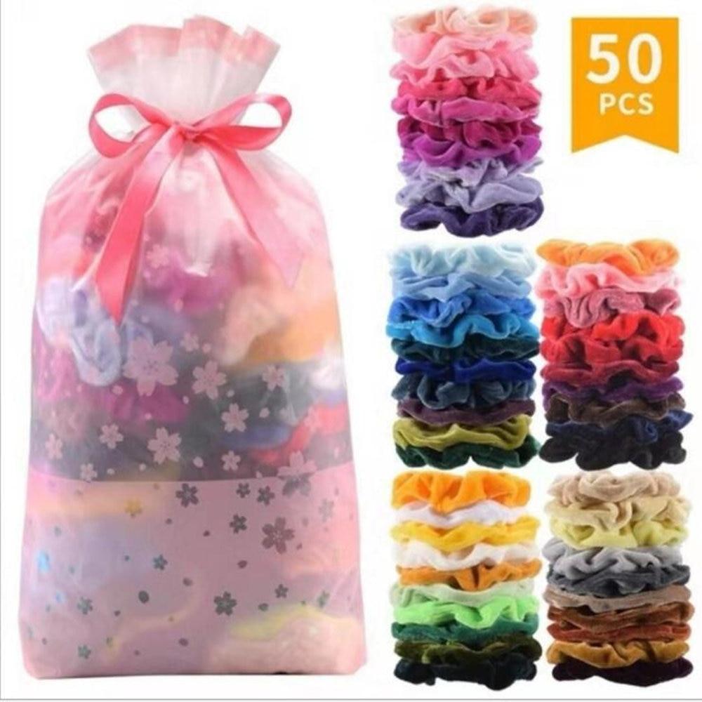 50 Colors Vintage Hair Scrunchies Stretchy Velvet Scrunchie Pack Women Elastic Hair Bands Girl Headwear Plain Rubber Hair Ties