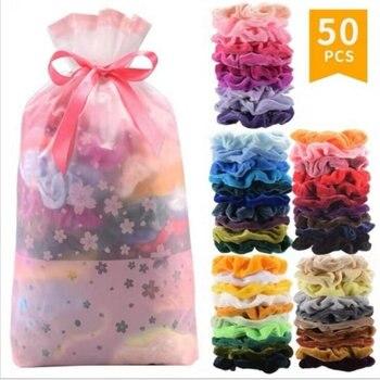 50 Colors Vintage Hair Scrunchies Stretchy Velvet Scrunchie Pack Women Elastic Bands Girl Headwear Plain Rubber Ties