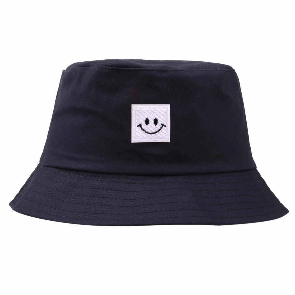 Chapeau Femmes hommes Panama seau chapeau sourire visage Design plat pare-soleil pêche pêcheur Bob chapeau Chapeu Femmes Hip Hop # YL5