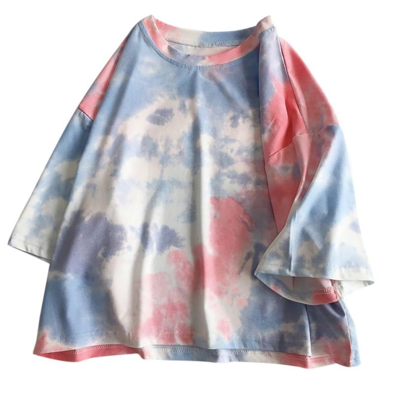 Oversized Short Sleeve T Shirt Women Streetwear Tie Dye Print Summer Loose Tee Shirt Tops