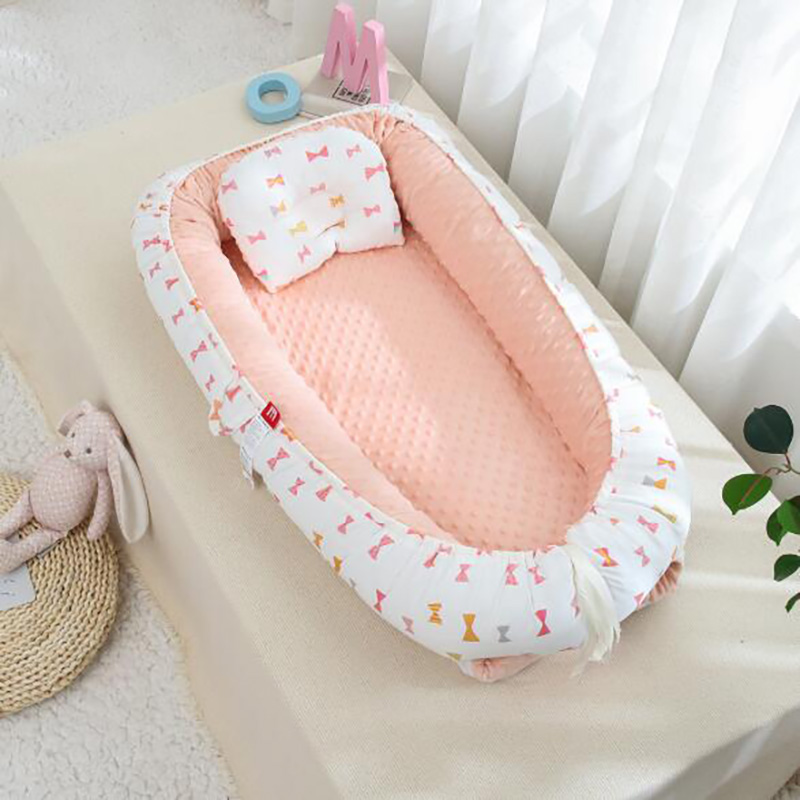 2 Pcs/set Winter Travel Crib Nest Velvet Lining Baby Slepping Bed  Portable Nursing  Newborn Care Bumpers Warm Bedding YHM031
