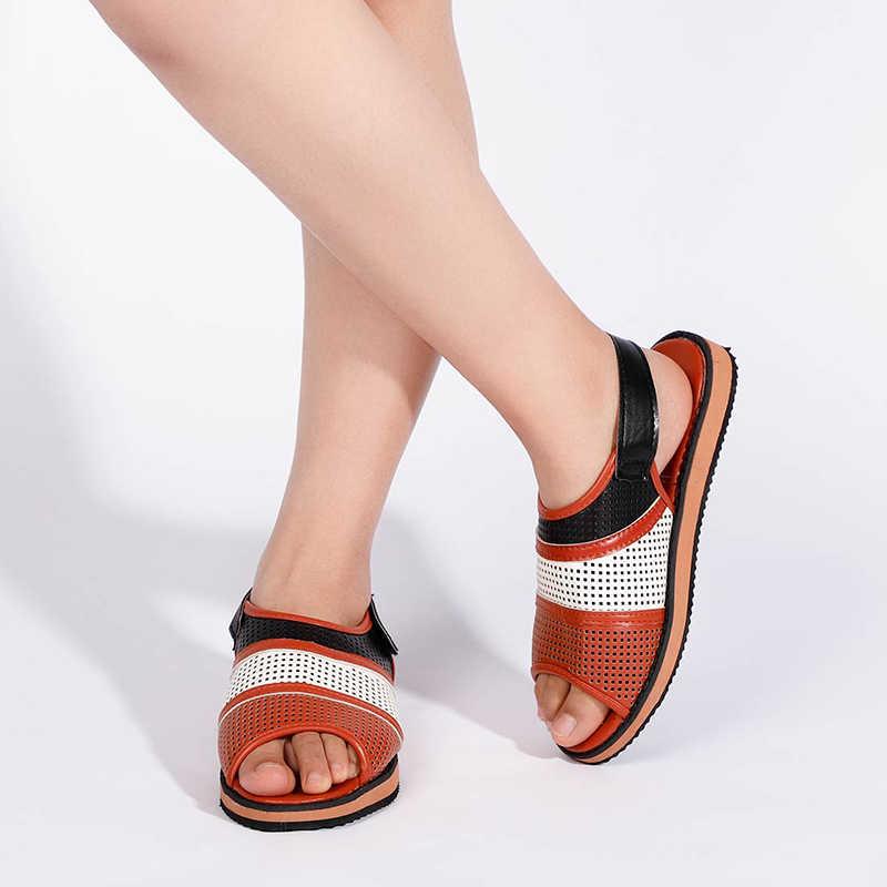 Kadın düz sandalet Hollow out bayanlar kanca döngü PU Vintage ayakkabı kadın Peep Toe rahat roma moda kadın ayakkabısı 2020 yaz
