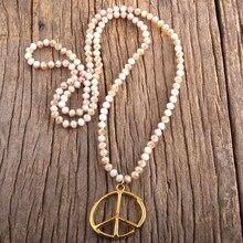 RH – accessoire de bijoux Boho en métal, 6mm, noué en verre avec pendentif de paix, collier bohème pour femmes, cadeau