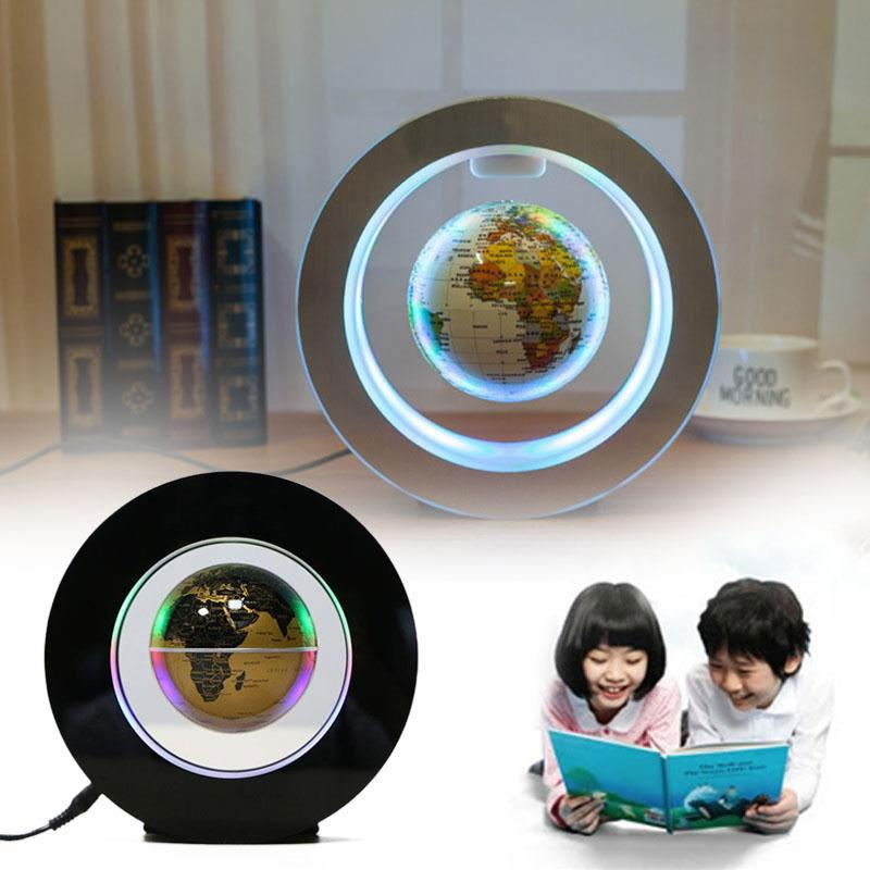 2W DC12V Magnetic Levitation Floating Globe Map W/LED Light Home Decor EU Plug