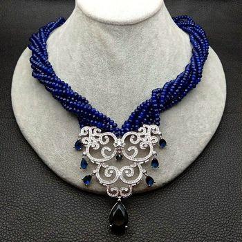 21'' 7 Strands Blue Faceted Rondelle Jade Necklace Zircon Pendant
