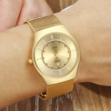 Fashion Gold Watches Men WWOOR Luxury Brand Stainless Steel Mesh Ultra Thin Watch For Men Waterproof Quartz Luminous Hand Watch fotina casual brand bosck quartz men watch ultra thin waterproof unisex stainless steel women dress ultra thin watches for men