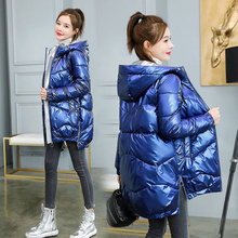 2021 New Winter jacket parka Women Glossy Down Cotton Jacket Hooded Parka Warm Female cotton Padded Jacket Casual Outwear