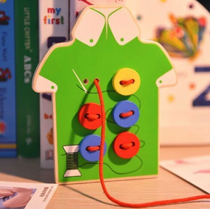 Children Sew On A Button Game Educational Handmade Threading Toy Hand-Eye Coordination Fine Motion