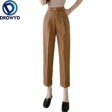 Женские узкие брюки цвета хаки модные элегантные для офиса летние