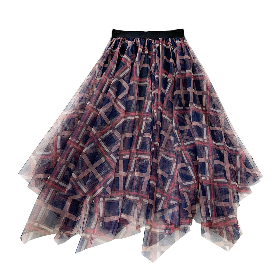 LANMREM 2020 NEW Spring And Summer A-line Double Multi-layer Mesh Halfbody Skirt Wholesales Irregular Elastic WL2080
