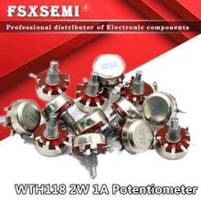 2pcs WTH118 DIY Peças do Kit 2W 1A Potenciômetro WTH118-1A 2W 470R 1K 2.2K 4.7K 47 22 10K K K 100K 470K 500K 560K 1M