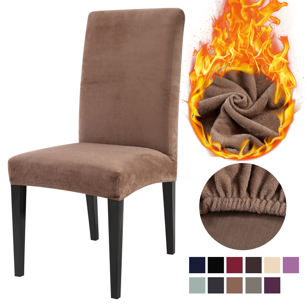 1/2/4/6PCS Soft Stretch Dining Chair Cover Protector Removable Solid Color Seat Slipcovers Anti-Dust Home Furniture Decor